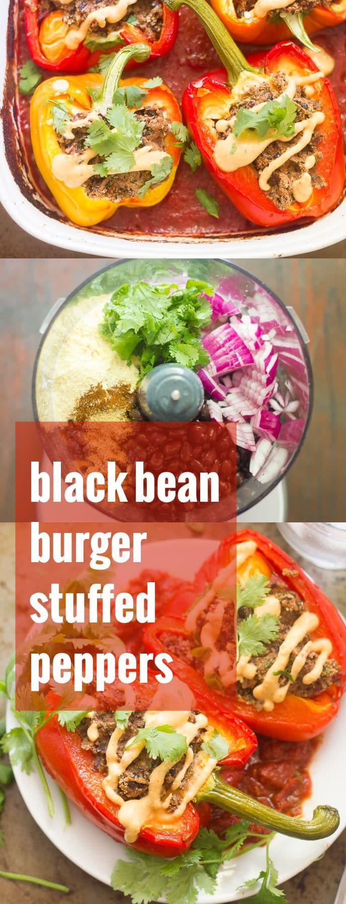 Black Bean Burger Stuffed Peppers
