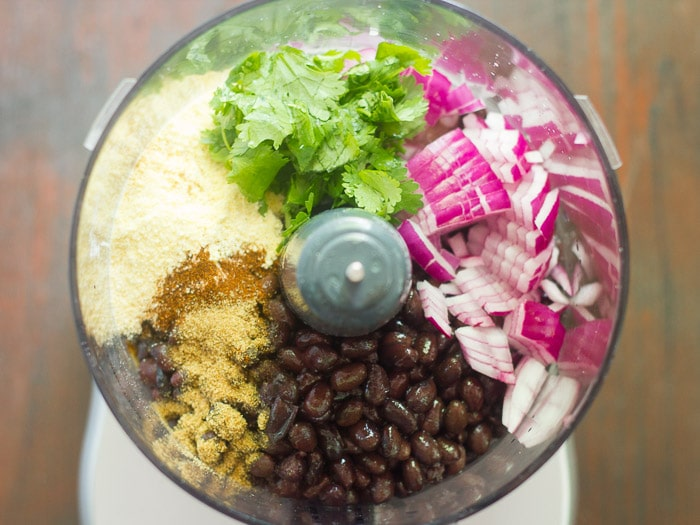 Black Bean Burger Stuffed Pepper Filling Ingredients in a Food Processor Bowl