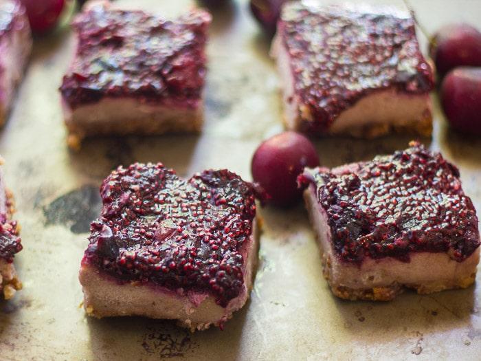 Vegan Cherry Cheesecake Bars