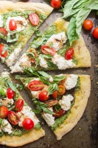 Vegan Pesto Caprese Pizza