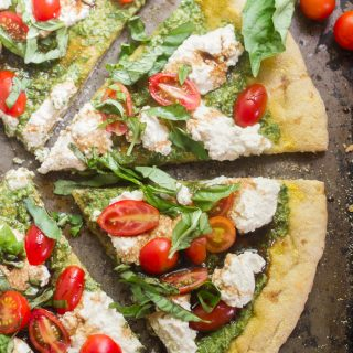 Vegan Pesto Caprese Pizza