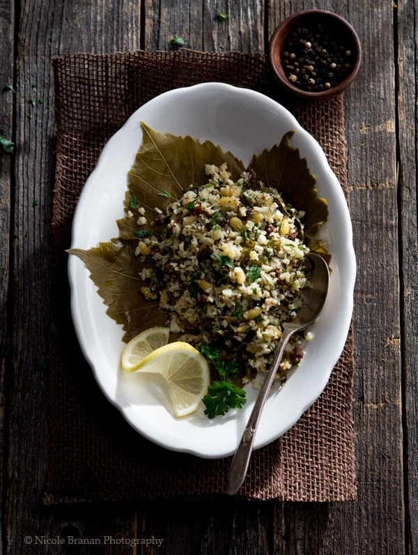 Dolmas Salad with Roasted Cauliflower Rice
