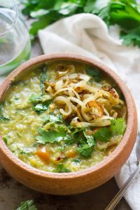 Herbed Split Pea & Basmati Rice Soup with Caramelized Onions