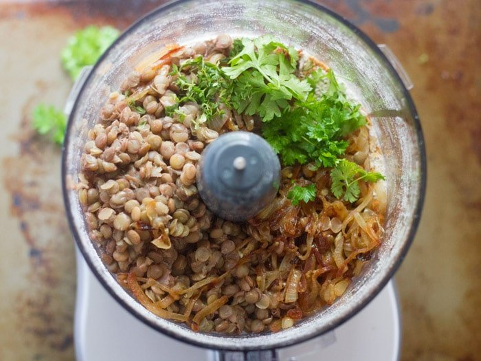 Food Processor Bowl Filled with Ingredients for Making Vegan French Onion Burgers