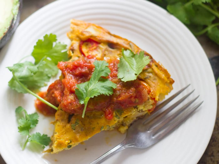 Taco-Spiced Vegan Frittata Slice on a Plate with Fork