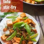 Tofu & Eggplant Red Curry Stir-Fry (Pad Ped)