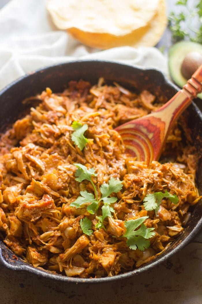 Jackfruit Tinga in a Skillet with Wooden Spoon