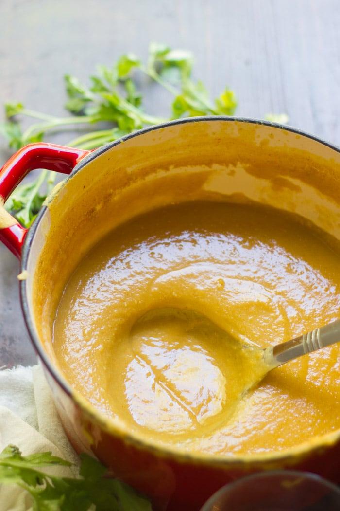Ladle Dipping into a Pot of Red Lentil Butternut Squash Soup