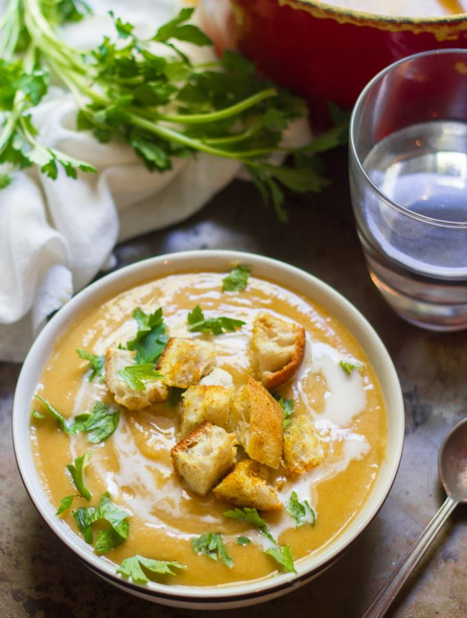 Red Lentil Butternut Squash Soup with Curry Croutons