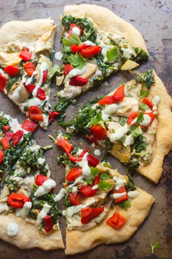 Vegan Spinach & Artichoke White Pizza
