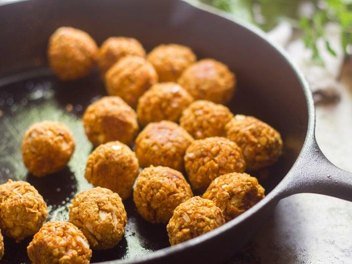 Vegan Meatballs in a Skillet