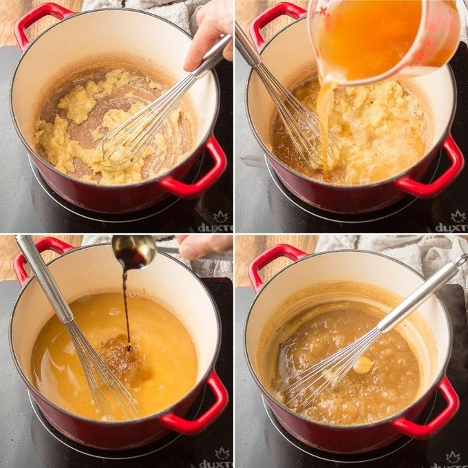 Collage Showing Steps 3-6 for Making Vegan Gravy: Whisk in Flour, Add Broth, Add Seasonings, and Simmer
