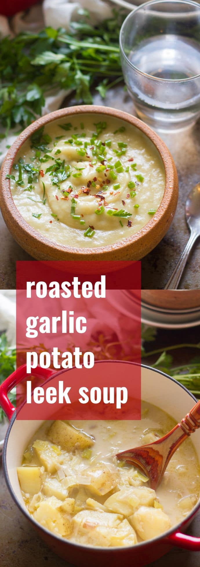 Roasted Garlic Potato Leek Soup Pinterest graphic