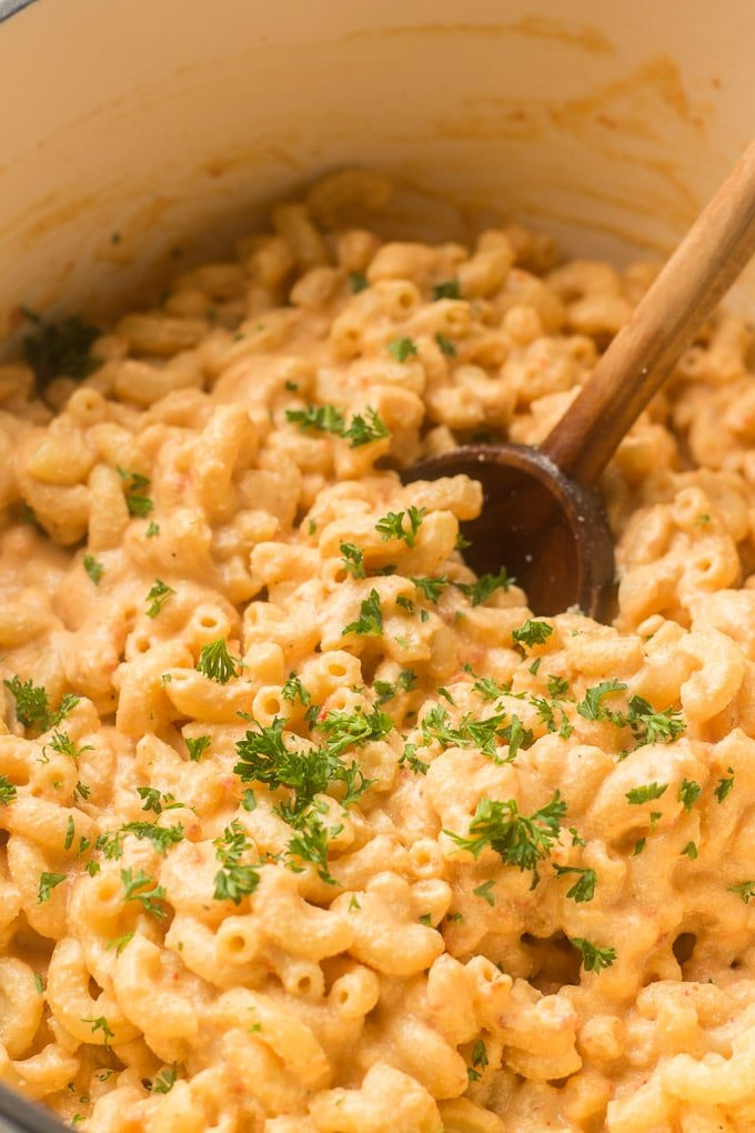 Close Up of Vegan Mac & Cheese with Wooden Spoon
