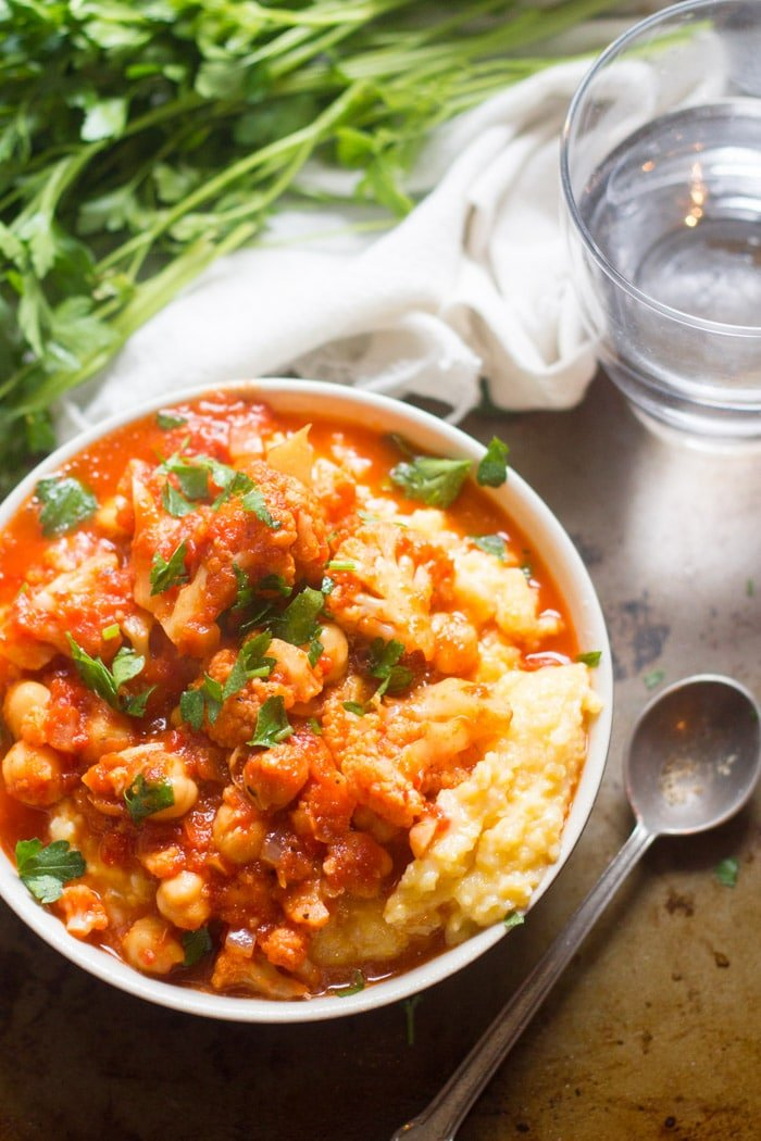 Cauliflower & Chickpea Creamy Polenta Bowls with Roasted Red Pepper Tomato Sauce