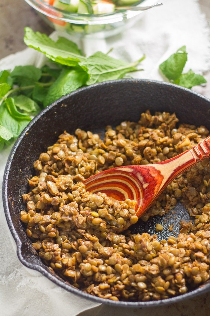 Shawarma Lentils in a Skillet with Spoon