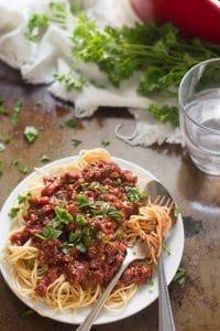 Spaghetti with Cauliflower Walnut Meat Sauce