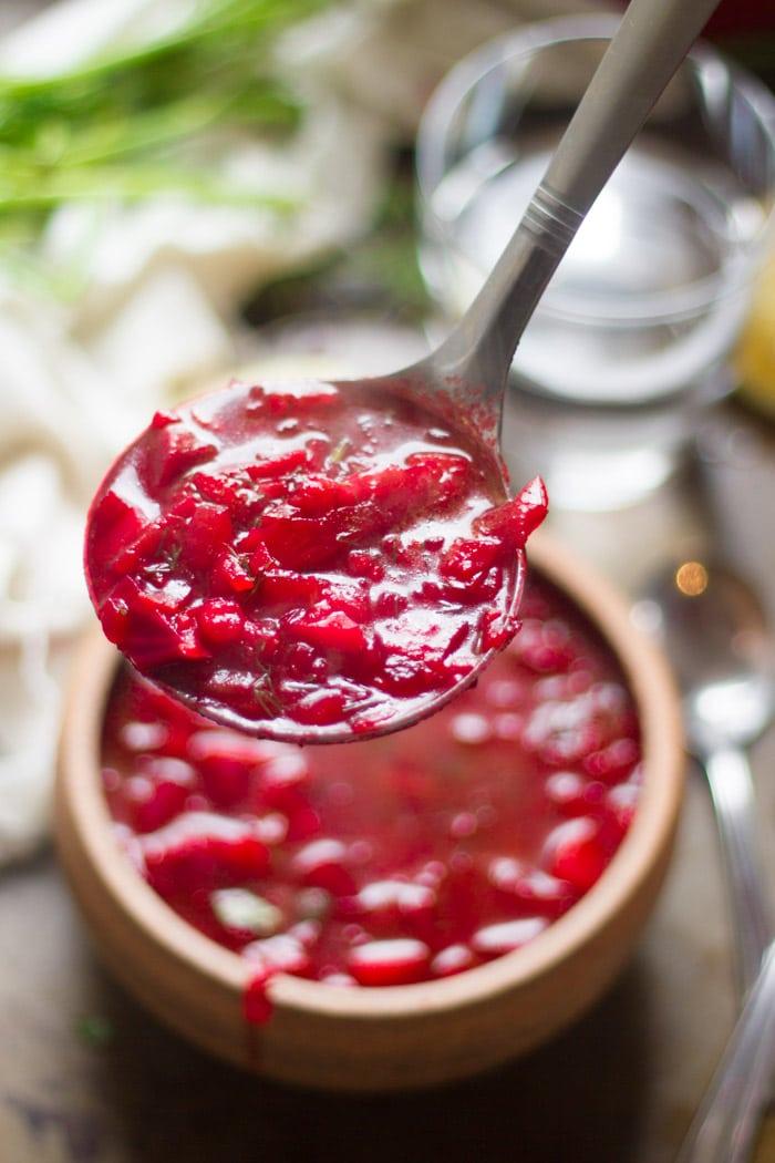 Ladle Filled with Vegan Borscht