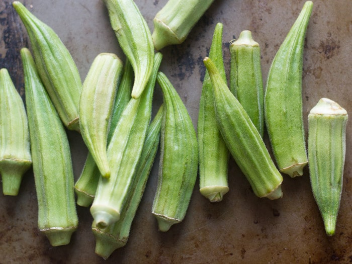 Fresh Okra Arranged on a Baking Sheet