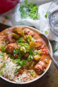 Vegan Gumbo with Andouille Red Bean Meatballs