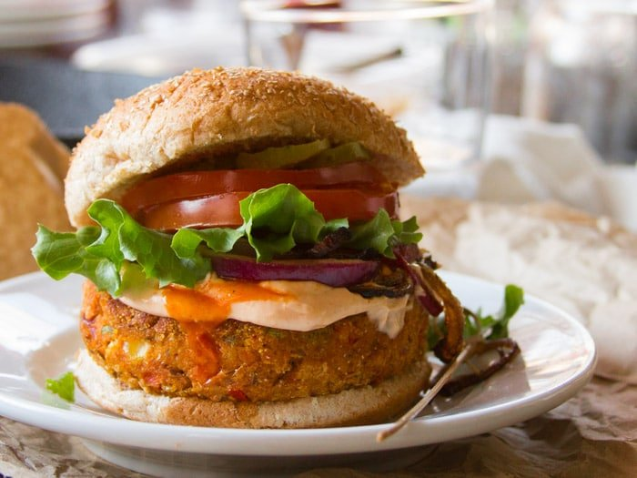 Close Up of a Cajun Black-Eyed Pea Burger on a Plate