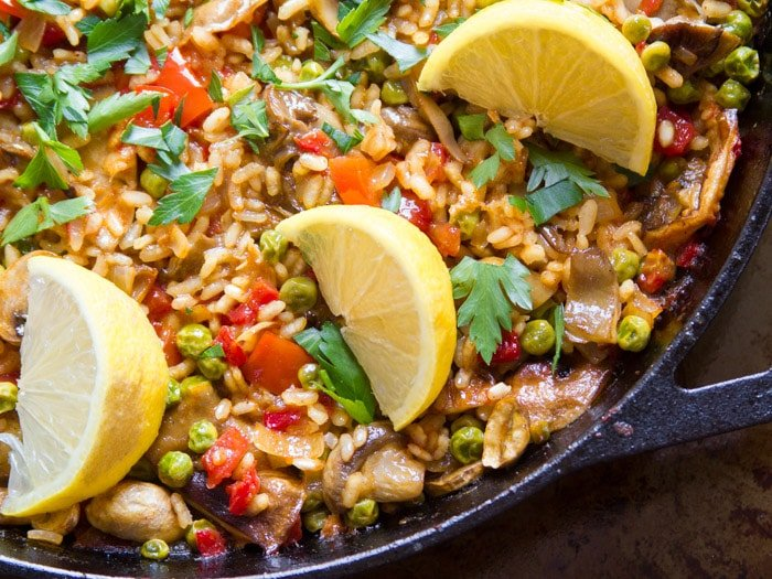 Close Up of Vegan Mushroom Paella in a Skillet
