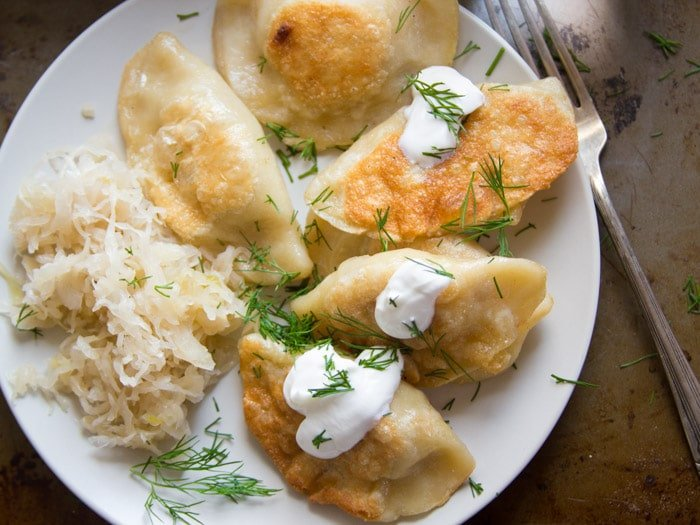 Overhead View of Vegan Pierogies on a Plate
