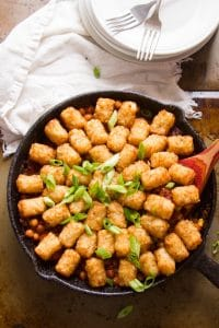 Top View of a Skillet of Tex-Mex Chickpea Tater Tot Casserole