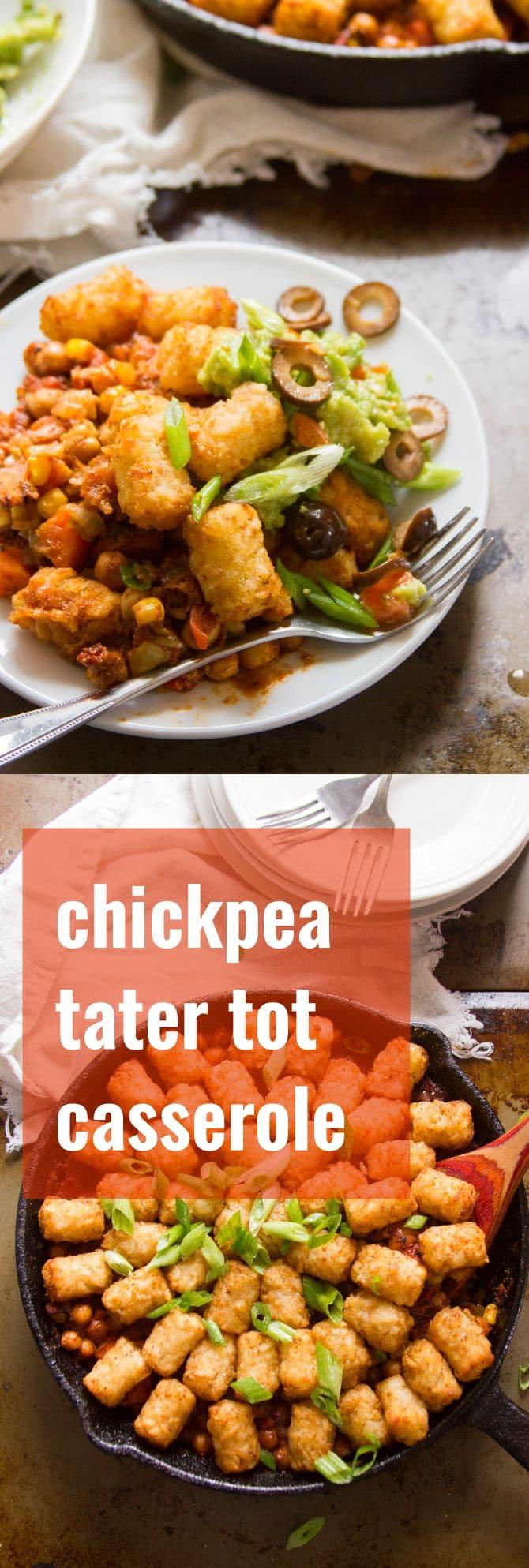 Tex-Mex Chickpea Tater Tot Casserole
