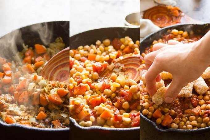 Collage Showing Steps for Making Tex-Mex Chickpea Tater Tot Casserole: Sauté the Veggies, Simmer with Chickpeas and Tomatoes, and Top with Tater Tots