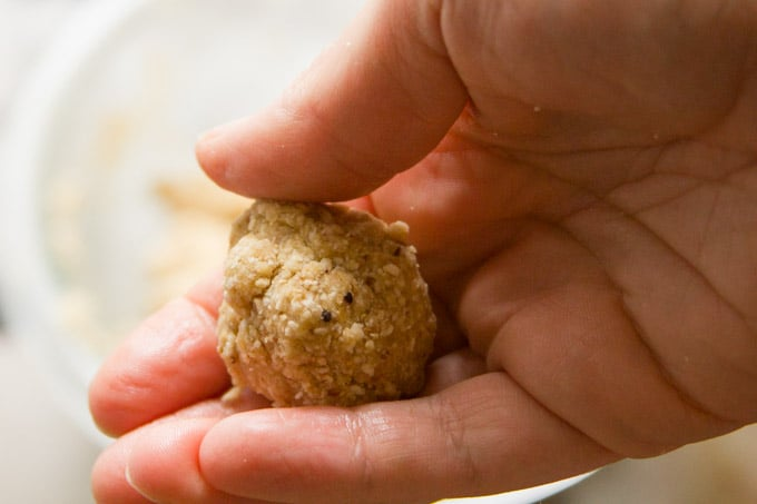 Hand Shaping a Vegan Matzo Ball for Vegan Matzo Ball Soup