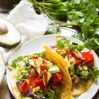 Roasted Veggie Tacos with Creamy Whipped Black Beans