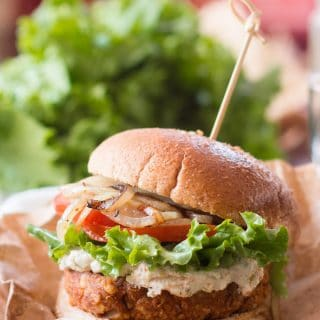 Chickpea Chorizo Burgers with Green Olive Cashew Cheese