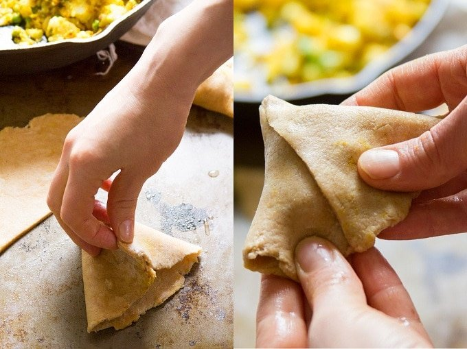 Collage Showing Steps 3 and for for Wrapping Baked Vegan Samosas: Fold Dough and Pinch at Seam, and Seal the Bottom