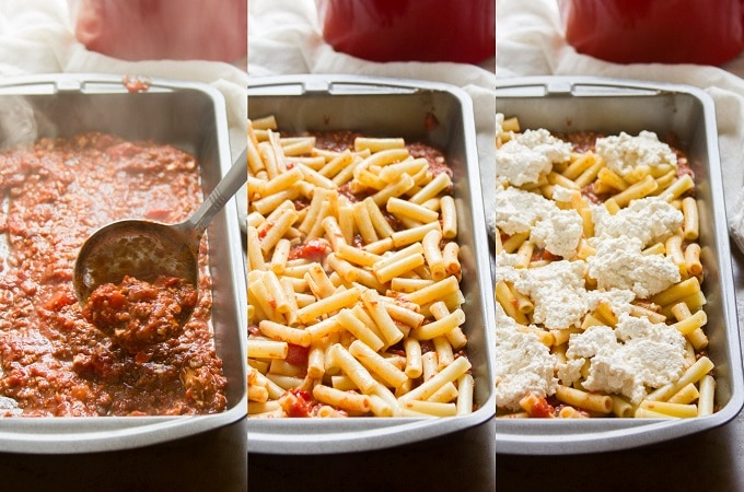 Collage Showing First Three Layering Steps to Make Vegan Baked Ziti: Ladle Sauce into Baking Dish, Layer Pasta in Baking Dish, Layer Vegan Ricotta Over Pasta