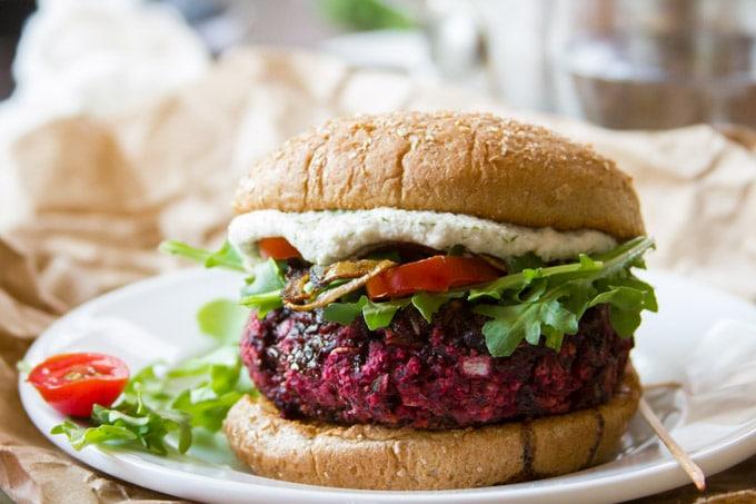 Close Up of a Vegan Beet Burger on a Plate