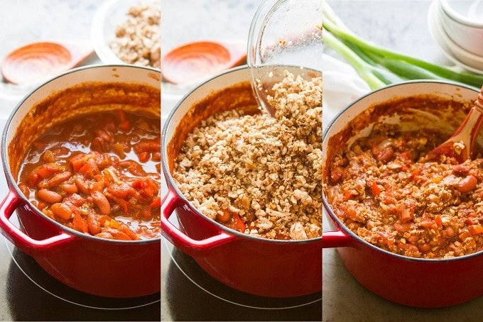 Collage Showing Steps for Making Meatless Chili con Carne: Simmer Chili, Add Cauliflower Walnut Crumbles, and Stir