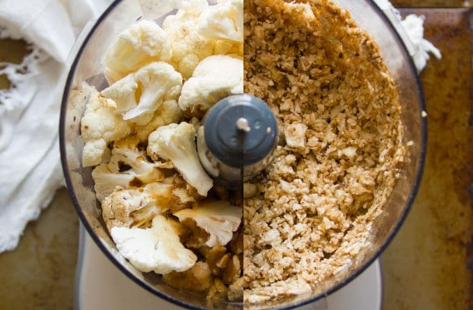 Collage Showing Cauliflower and Walnuts in a Food Processor for Making Meatless Chili con Carne Before and After Blending