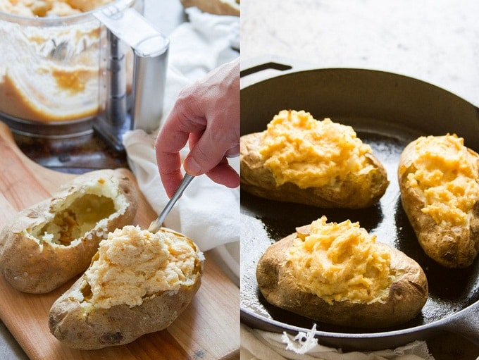 Collage Showing Steps for Making Vegan Twice Baked Potatoes: Stuff the Potatoes, and Bake the Potatoes