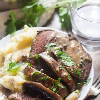 Portobello Steaks with Whiskey Peppercorn Sauce