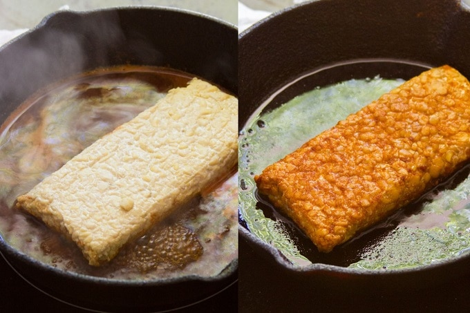 Two Images Showing Different Stages of Tempeh Being Braised in a Skillet to Make Vegan Ribs