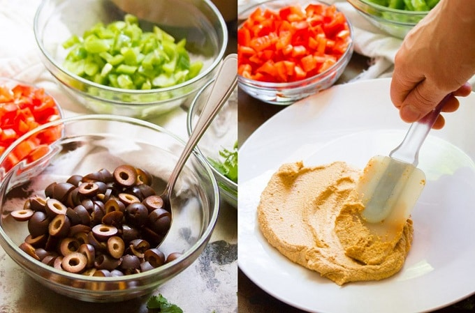 Collage Showing Toppings for Cheesy Vegan Taco Dip, and Hand Spreading Cashew Cheese on a Plate to Make Cheesy Vegan Taco Dip