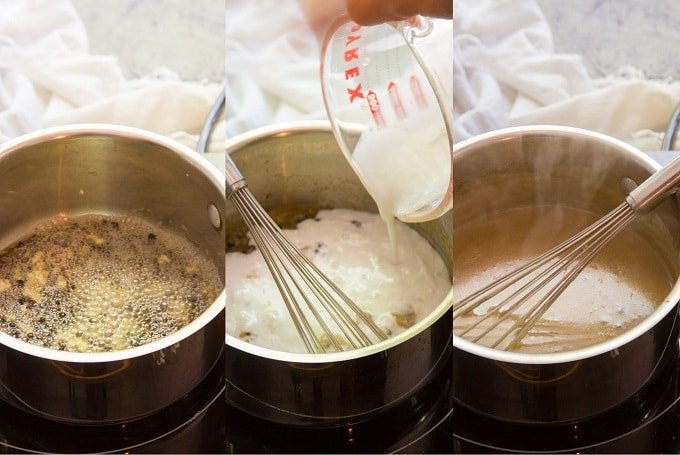 Collage Showing Steps for Making Vegan Whiskey Peppercorn Sauce: Simmer Garlic and Peppercorns in Vegan Butter, Add Whiskey and Coconut Milk, and Simmer
