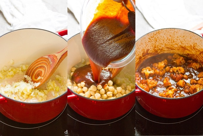 Collage Showing Steps for Making Topping for Barbecue Chickpea & Cauliflower Pizza: Sauté Onion, Simmer Barbecue Sauce and Chickpeas, and Add Cauliflower
