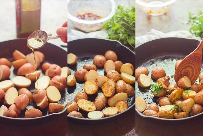 Collage Showing Steps for Making Chipotle and Lime Roasted Potatoes: Drizzle Potatoes with Olive Oil, Roast Potatoes, and Toss Potatoes with Chipotle Lime Sauce