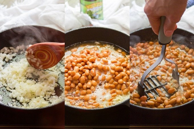 Collage Showing Steps for Making Drunken Refried Beans: Sauté Onion and Garlic, Add Beans, Beer And Spices, Simmer and Mash the Beans