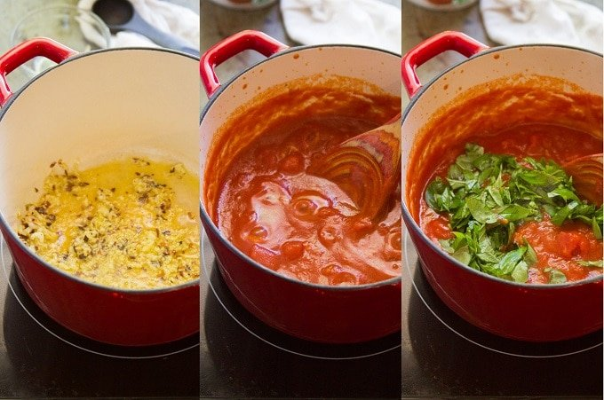 Collage Showing Steps for Making Penne Arrabbiata: Sauté Onion in Olive Oil, Simmer with Tomatoes, and Add Fresh Basil