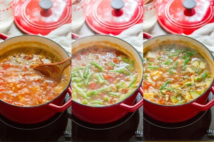 Collage Showing Steps For Making Summer Vegetable Soup: Simmer Tomatoes, Corn and Potatoes in Broth, Add Green Beans, and Add Zucchini