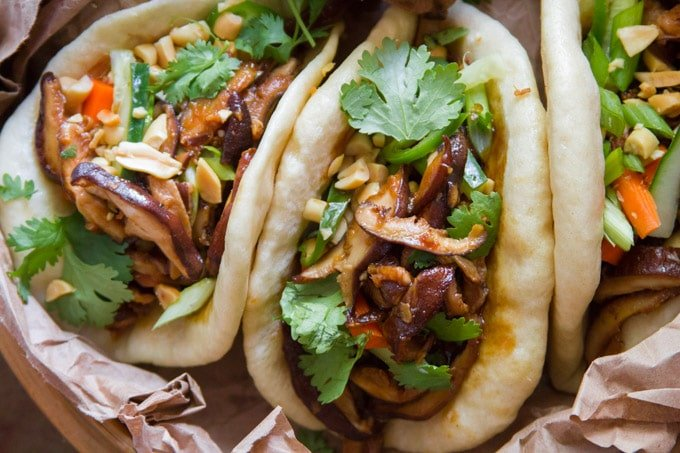 Close Up of Shiitake Mushroom Vegan Bao Buns