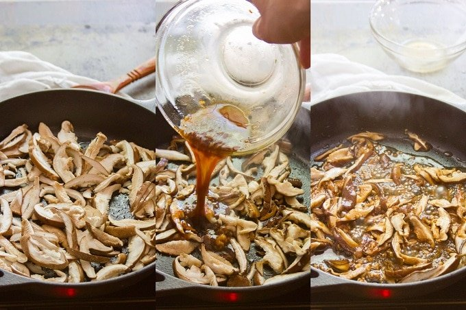 Collage Showing Steps For Cooking Mushrooms For Making Vegan Bao Buns: Brown Mushrooms With Oil, Add Sauce, and Simmer Until Sauce Thickens